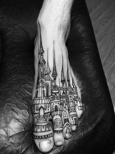 脚背建筑纹身-缩略图
