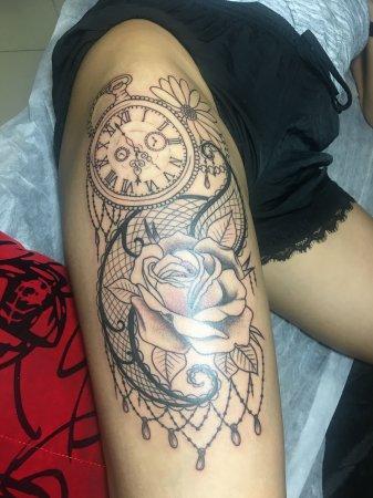 玫瑰花表组合纹身-缩略图